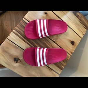 Girls adidas slides hot pink